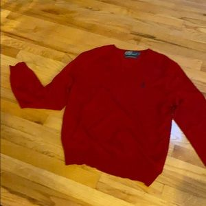 Men's polo red 100%wool sweater
